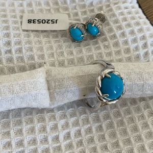 Turquoise Halo Stud Earrings and Ring